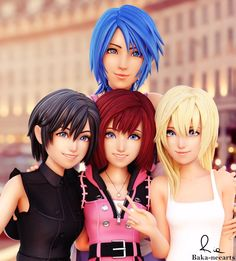 Mommy Aqua and her daughters Vanitas Kingdom Hearts, Kairi Kingdom Hearts, Kingdom Hearts Games, Kingdom Hearts Characters, Kingdom Hearts Fanart, Star Citizen, Kindom Hearts, Happy International Women's Day, Heart Images