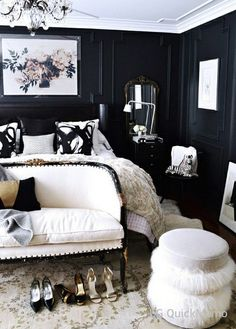 Black and White chic fancy Bedroom