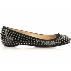 d04f59967fcb Christian Louboutin Big Kiss Studded Flats Black Louboutin Shoes Outlet