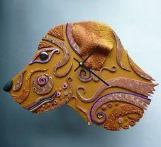 Dog Clock or Wall Art Sculpture in Golden Crazy Stripe Polymer Clay | MysticDreamerArt - Housewares on ArtFire