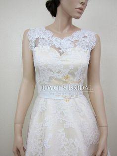 20s+Vintage+Lace+V+neck+Tea+Length+Wedding+Dresses the back view, but no bow - perhaps buttons?