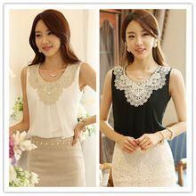 2014 White Chiffon Sleeveless Vest Folds Casual Kimono Women Blouses Clothing Plus Size Renda Dudalina Lace Crochet Shirts XXXL(China (Mainland))