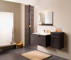 ensemble lignum de sanijura avec armoire de toilette miroir meuble sous table en chne et table en cramique ides maison pinterest bathroom - Meuble Salle De Bain Marron