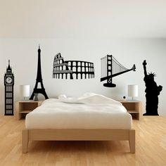 Pack compuesto por 5 monumentos de vinilo: Big Ben, Torre Eiffel, Coliseo, Estatua de la Libertad y Golden Gate.
