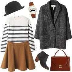 classic parisian -- striped shirt, tan or yellow skirt, charcoal coat