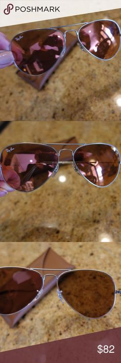 Ray Ban Large Metal Aviators RB3025 Rose Gold Lens Gorgeous Rose Gold Lens on these Classic Large Metal Frame Aviators.  RB3025 Style.  Frame is mat Pewter and a really unique combination.  Comes with case. These are pre-owned glasses in great condition. No major scratches Ray Ban Accessories Sunglasses
