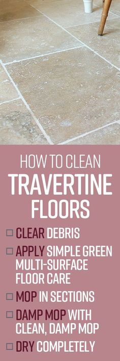 Travertine is a type of natural stone that is renowned for its strength and endurance to resist damage, staining and corrosion. It is quite often used as an alternative to marble as it is not only cost effective, but the polished or honed finish in travertine flooring can result in floors very similar to marble flooring. Spring Cleaning List, House Cleaning Tips, Cleaning Hacks, Natural Cleaning Recipes, Natural Cleaning Products, Travertine Floors, Stone Flooring, Flooring Options, Flooring Ideas