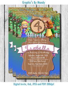 Goldie and Bear Birthday Invitation Digital by GraphicsByMandy