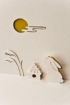 月見うさぎのポップアップカード …