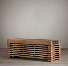 Reclaimed Pine Timber Slat Media - 1400/480/530, 2050/480/530 - livingroom - restorationhardware.com