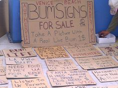 Bum signs for sale in Venice Beach