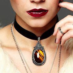 Maya Velvet Choker Gemstone Necklace