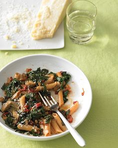 The Swiss chard in this pasta dish is the perfect economical veggie: You can eat both the leaves and the stems. Chose Italian-style chicken sausage, either sweet or hot. If the sausage is precooked, cut it into bite-sized pieces and saute to brown it.
