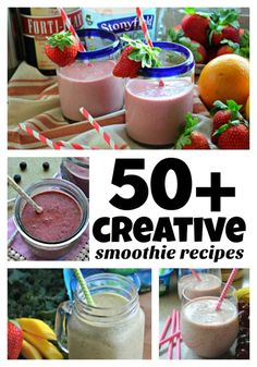 Tired of the same old smoothie recipe? Want to spice things up? Check out over creative smoothie recipes to jump start your morning and mind! Entree Recipes, Lunch Recipes, Smoothie Recipes, Breakfast Recipes, Dessert Recipes, Yummy Recipes, Healthy Recipes, One Pot Meals, Easy Meals