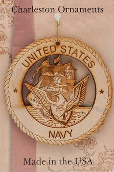 US NAVY Ornament  Navy Ornaments  Navy Gifts  by PalmettoEngraving Navy Sister, Navy Mom, Us Navy, Military Gifts, Sailors, Holiday Parties, Mall, Pride, Personalized Items