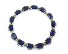 Unsigned blue stone necklace with diamante stones, choker style