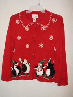 Christmas Sweater-Carly St Claire-Size Large-Ice Skating Penguins #CarlyStClaire #Cardigan