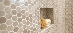 Check out these bathroom tile projects that give you the most bang for your buck. Daltile shows you how to get maximum benefits without going over budget. Hexagon Tile Bathroom, Hexagon Mosaic Tile, Mosaic Wall Tiles, Mosaic Backsplash, Mosaic Glass, Mosaics, Bathroom Niche, Shower Niche, Shower Floor