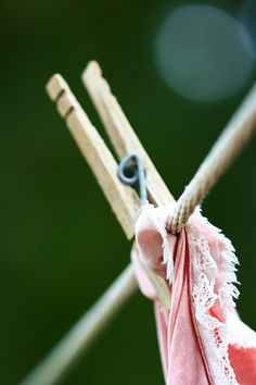 Old Fashioned Clothes Pin On Clothesline