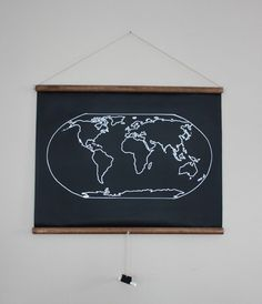 chalkboard world map on chalkboard fabric.  outline is painted on and chalk attached for marking countries and writing-LOVE THIS!!