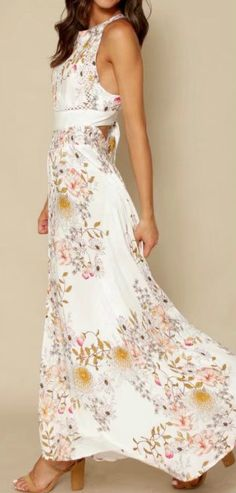 Women's Halter Backless Sleeveless Floral Printed Maxi Split Dress