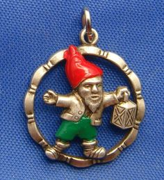 German Vintage Silver Enamel Gnome Elf Pixie w Lantern Charm | eBay, starting price $47.79