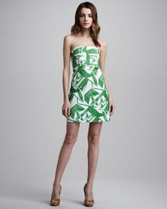 Court Printed Strapless Dress by Alice + Olivia at Neiman Marcus.    love the green