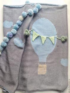 Пледы и одеяла ручной работы. Детский вязаный плед Воздушный шар. ole&ko. Интернет-магазин Ярмарка Мастеров. Плед для новорожденного