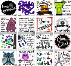 Etiquetas Frascos Botellas Transparentes X12 Unid 8x8.5 Cm - $ 105,00 Playing Cards, Bullet Journal, Printables, Scrapbook, Lettering, Mugs, Paper, Diy, Sushi