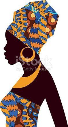 Silhouette of African girls in bright colored turban - Royalty-free Afrika kültürü Vector Art African Girl, African American Art, African Violet, African Colors, African Women, Black Girl Art, Black Women Art, Art Women, Afrika Tattoos