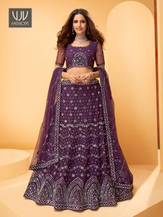 Rs11,100.00 Net Lehenga, Lehenga Blouse, Indian Lehenga, Lehenga Choli, Wedding Wear, Purple Wedding, Wedding Lehenga Online, Net Blouses, Purple Mirror
