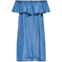 OFF SHOULDER DRESS (590 MXN) ❤ liked on Polyvore featuring dresses, blue off the shoulder dress, off-the-shoulder dress, blue off shoulder dress, off shoulder dress and blue dress