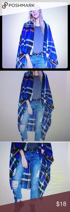 Boohoo Tartan check cape in Cobalt 1 SZ Boohoo Plus Tartan check cape in Cobalt ONE SIZE. NEW WITH TAGS!!! Blue, white, black, & red stripped. Honestly I wanted to ❤️ this but I have to be a giant compared to this chick 😂. I'm 5'7 and when drapped over my shoulders, it falls right at my knees, unlike in the picture. Still a beautiful garment though. Pay close attention to how it is drapped. To me it's more like a large scarf, NOT a cape. But again...I'm picky & honest Boohoo Plus Jackets…