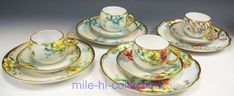 """12 PIECES LIMOGES BAVARIA HAND PAINTED ROSES TRIO. 124 4 hand painted roses trio (cup & saucer, plate) Artist signed """"J.H.Laxhvop"""". U.C Limoges, France Early 20th century, antique tea coffee cups"""