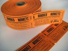 A Hundred Monkeys  Business Cards  Designed to look like tickets, these full-size cards are letterpressed, die-cut, perffed and crash numbered.