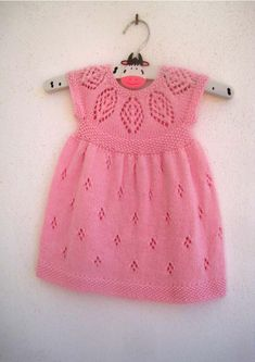 Isla Dress. Pretty and sophisticated with a gorgeous lace yoke. Knit in the round from the top down, comes in 7 sizes from Preemie to 6-year-old girl (to fit 12
