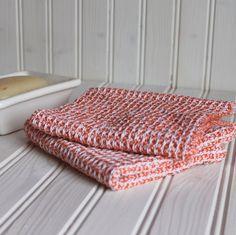 Handwoven dishcloths / orange waffle weave dish by NutfieldWeaver