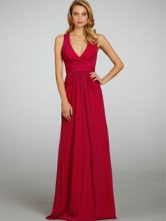Dahlia crinkle chiffon over Red lining A-line bridesmaid gown, draped V-neckline and band at natural waist.