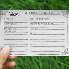 Free Printable Black and White Recipe Cards