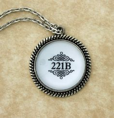 """SHERLOCK BBC """"221B"""" Pendant Necklace, Sherlock Holmes,Fan Jewelry, Great Gift"""