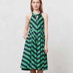 NWOT Anthropologie Emerald Ripple Dress Navy and green 100% cotton midi dress with full skirt. Never worn, no tags. Open to other offers. Anthropologie Dresses