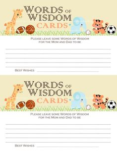 Baby Shower WORDS of WISDOM CARDS Jungle Safari Zoo Animals & Sports Basketball Baseball Soccer Football