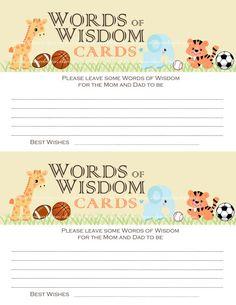 Baby Shower WORDS of WISDOM CARDS Jungle Safari Zoo Animals & Sports Basketball Baseball Soccer Football