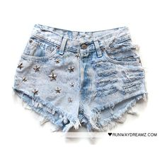 Runwaydreamz : Sia Vintage Acid Studded Shorts ❤ liked on Polyvore featuring shorts, bottoms, pants, short, short shorts, acid shorts, acid wash shorts, runwaydreamz and vintage studded shorts