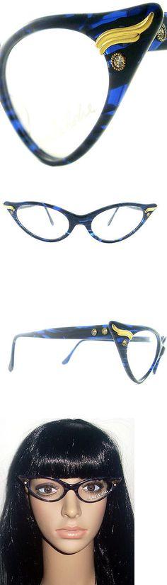 Eyeglasses 175805: Vintage Cat Eye Glasses Eyeglasses Sunglasses New Frame Eyewear Blue And Black -> BUY IT NOW ONLY: $140 on eBay!