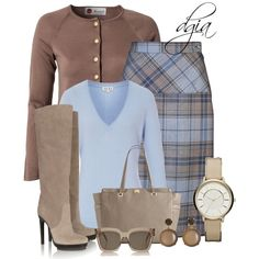 A fashion look from November 2013 featuring brown tops, merino v neck sweater and tartan plaid pencil skirt. Browse and shop related looks.