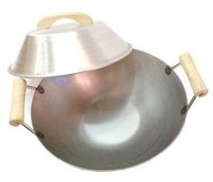 16 Inch Carbon Steel Wok w/2 Wood Handles (Flat Bottom) USA Made. Lid ($14.95) NOT Included.