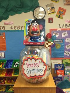 Here is the prize box/tub. Students can cash in their coupons on Fridays for prizes and other rewards. This year I am going to use Mr. Potato Head as a class reward system. We will build him as the class gets complimented or goes above and beyond with their learning and behavior. Then, I'll have to come up with a special treat or prize to reward them. I try to use as much positive reinforcement as possible so that we don't dwell on the negative.