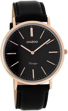 Oozoo Vintage Ultra Slim Leder 40 MM Rose Schwarz Schwarz C7324 Black And  Gold 54a7c87e764