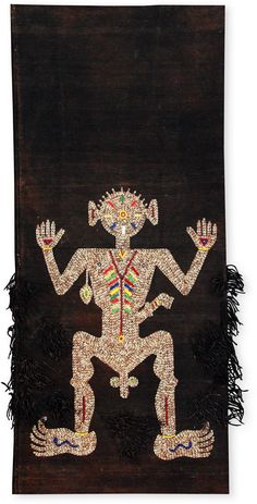 The beaded figure on a lau witikau is the marapu, the first deified ancestor of the clan. The omniscient marapu takes an active part in everyday events, and his protection is invaluable. The true face of a marapu can never be seen, and is never depicted in the beaded image. In the past, East Sumbanese queens gave lau witikau to their daughters as wedding gifts, to confer the power of the marapu on a new branch of the family.